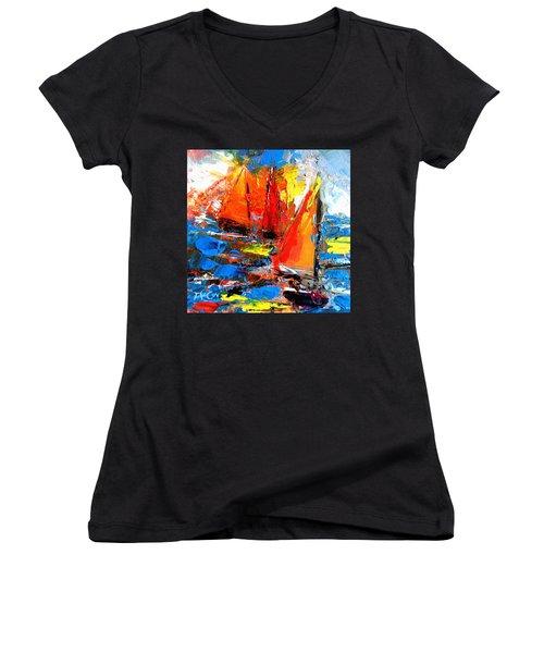 Sail Into The Sunset Women's V-Neck T-Shirt