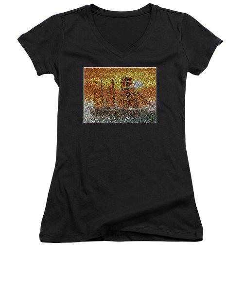 Women's V-Neck T-Shirt (Junior Cut) featuring the mixed media Sail Ship Coins Mosaic by Paul Van Scott