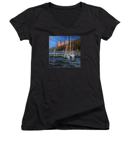Sailboats At Dusk, Hudson River Women's V-Neck T-Shirt