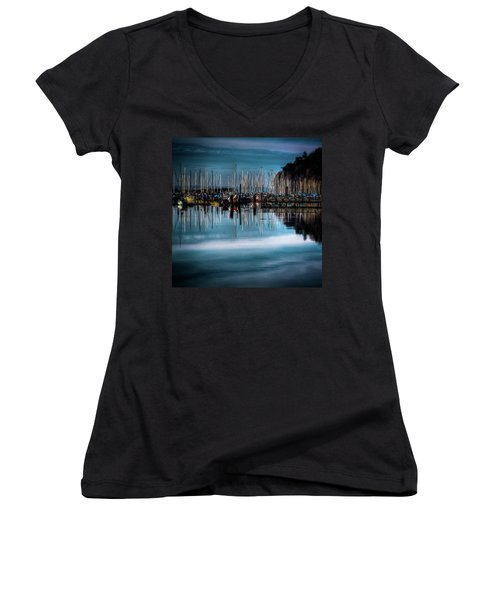 Sailboats At Sunset Women's V-Neck T-Shirt (Junior Cut) by David Patterson