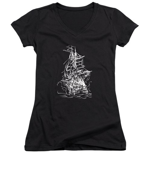 Women's V-Neck T-Shirt (Junior Cut) featuring the painting Sailing 2  by Andrzej Szczerski