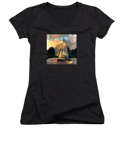Sailing Into The Sunset Women's V-Neck T-Shirt (Junior Cut) by LemonArt Photography