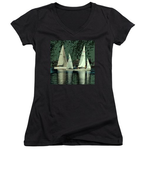 Sailing Reflections Women's V-Neck T-Shirt (Junior Cut) by David Patterson