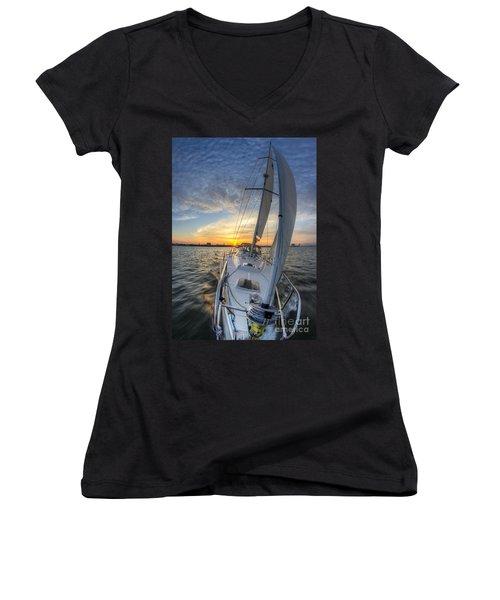 Sailing Sunset Sailboat Fate Charleston  Women's V-Neck