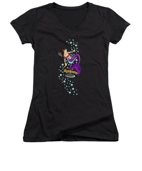 Sailor Beware Women's V-Neck T-Shirt (Junior Cut) by Tracy Dixon