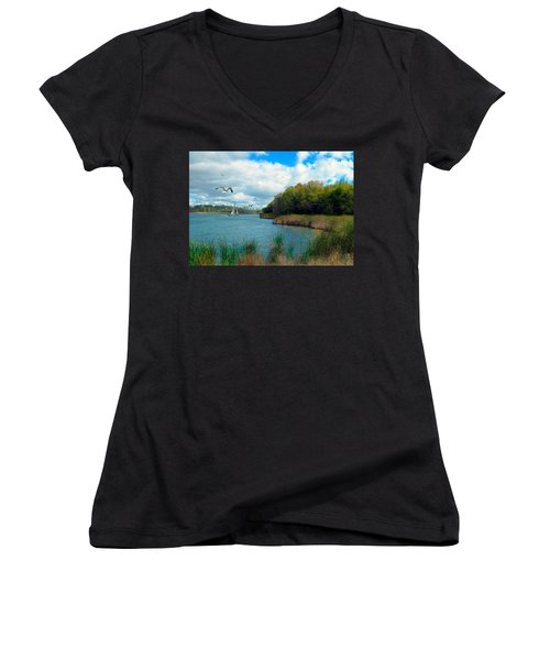 Sails In The Distance Women's V-Neck T-Shirt (Junior Cut) by Cedric Hampton