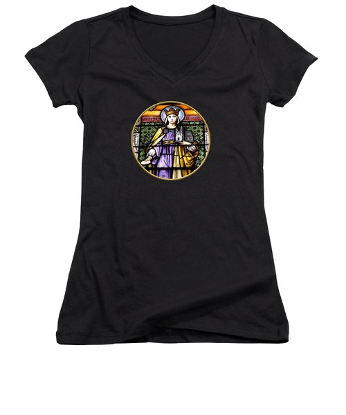 Saint Adelaide Stained Glass Window In The Round Women's V-Neck T-Shirt