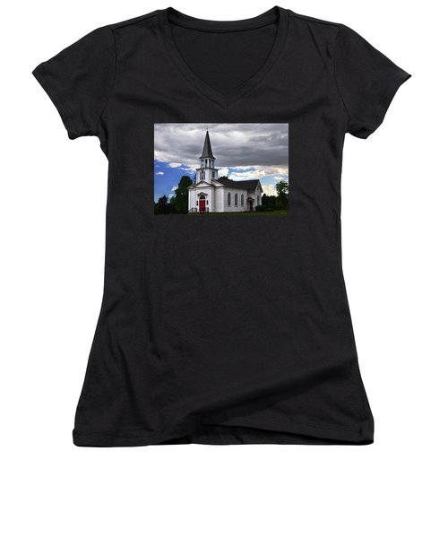 Women's V-Neck T-Shirt (Junior Cut) featuring the photograph Saint James Episcopal Church 001 by George Bostian