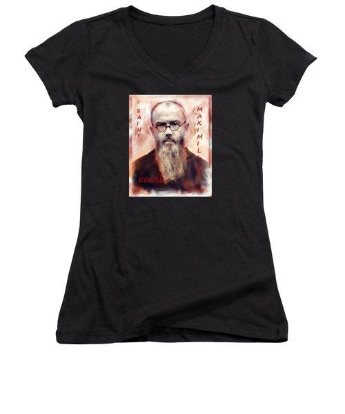Women's V-Neck T-Shirt (Junior Cut) featuring the painting Saint Maximilion Kolbe by Suzanne Silvir