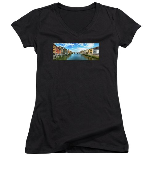 Panoramic View Of Saint Trinity Bridge From Ponte Vecchio In Florence, Italy Women's V-Neck