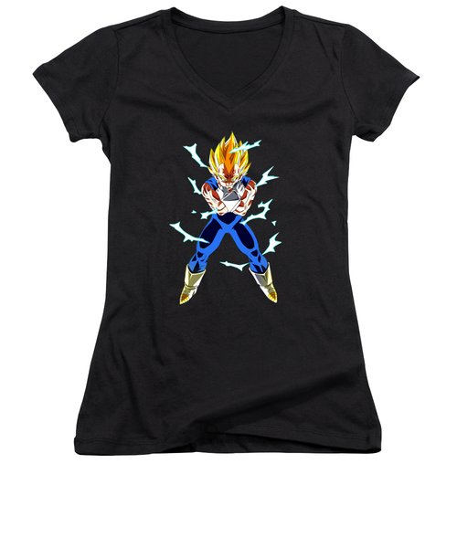 Saiyan Warriors Women's V-Neck T-Shirt (Junior Cut) by Opoble Opoble
