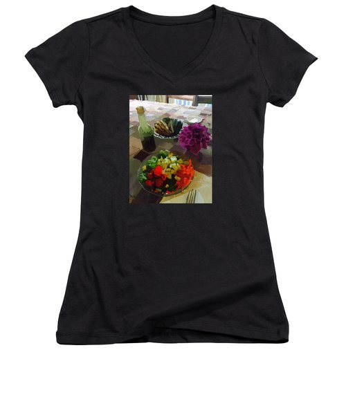Salad And Dressing With Squash And Dahlia Women's V-Neck T-Shirt (Junior Cut) by Melissa Abbott