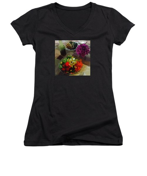 Salad And Dressing With Squash And Purple Dahlia Women's V-Neck T-Shirt