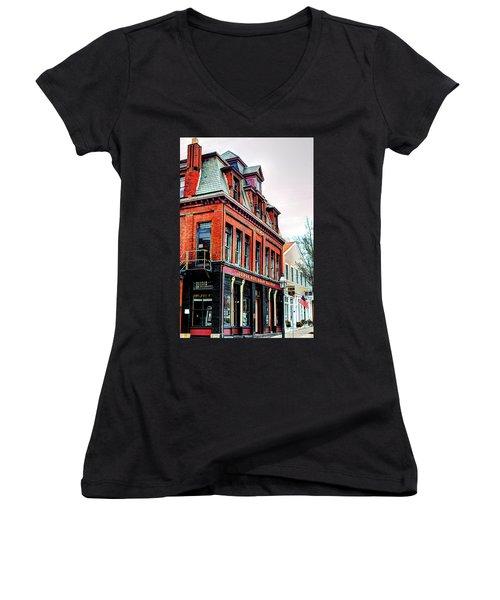 Women's V-Neck T-Shirt (Junior Cut) featuring the photograph Saloon Bristol Ri by Tom Prendergast