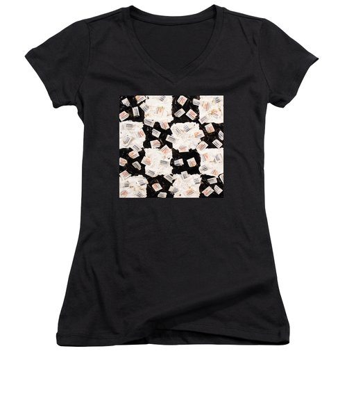 Women's V-Neck T-Shirt (Junior Cut) featuring the painting Salt And Pepper by Thomas Blood