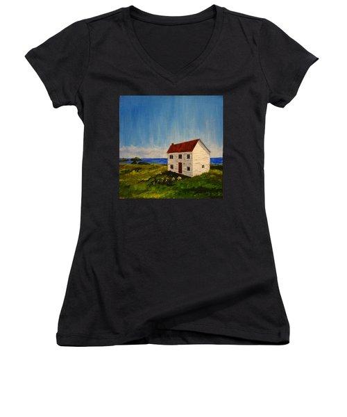 Saltbox House Women's V-Neck T-Shirt (Junior Cut) by Diane Arlitt