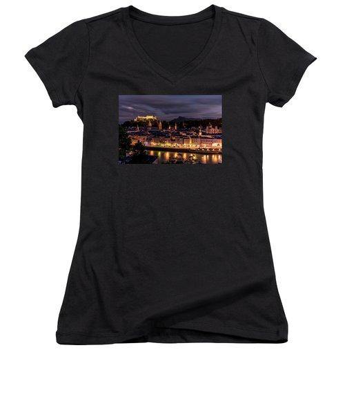 Women's V-Neck T-Shirt featuring the photograph Salzburg Austria by David Morefield