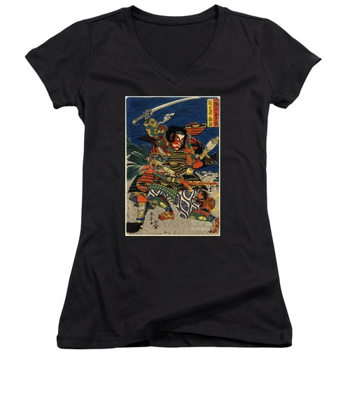 Samurai Warriors Battle 1819 Women's V-Neck T-Shirt (Junior Cut) by Padre Art