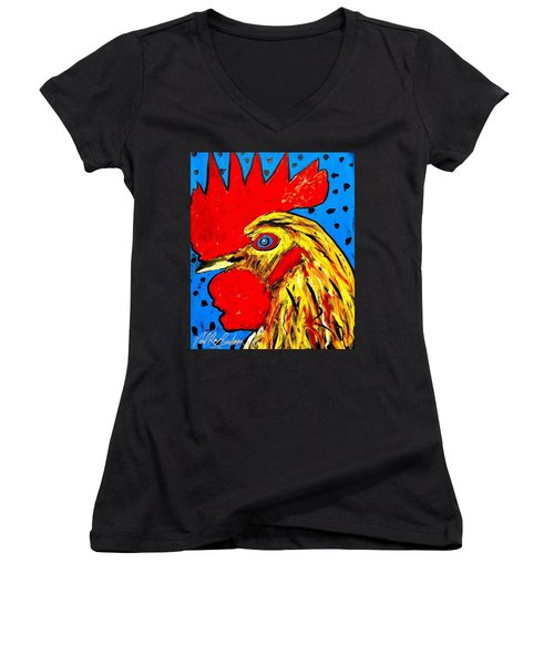 San Antonio Rooster Women's V-Neck (Athletic Fit)