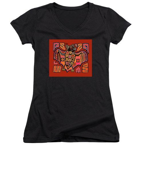 Women's V-Neck T-Shirt featuring the digital art San Blas Kuna Indian Bat by Vagabond Folk Art - Virginia Vivier