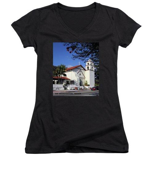 Women's V-Neck T-Shirt (Junior Cut) featuring the photograph San Buenaventura Mission by Mary Ellen Frazee