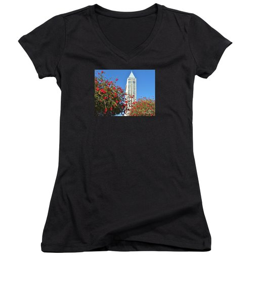 Women's V-Neck T-Shirt (Junior Cut) featuring the photograph San Diego Building In Blossom by Jasna Gopic