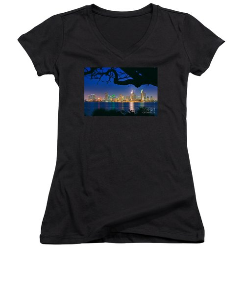 San Diego Skyline From Bay View Park In Coronado Women's V-Neck (Athletic Fit)
