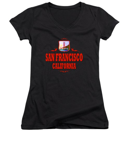 San Francisco California Golden Gate Design Women's V-Neck
