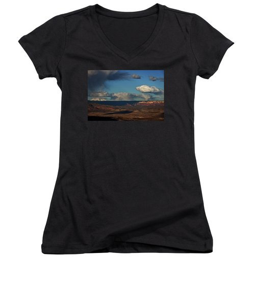 Women's V-Neck T-Shirt (Junior Cut) featuring the photograph San Francisco Peaks With Snow And Clouds by Ron Chilston