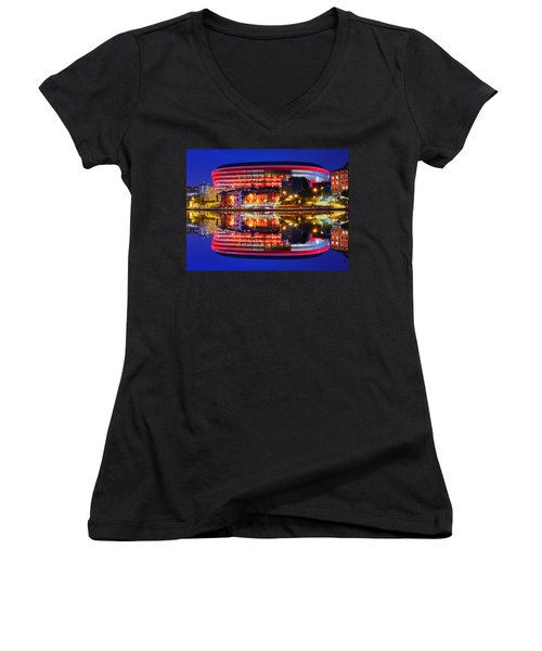 San Mames Stadium At Night With Water Reflections Women's V-Neck
