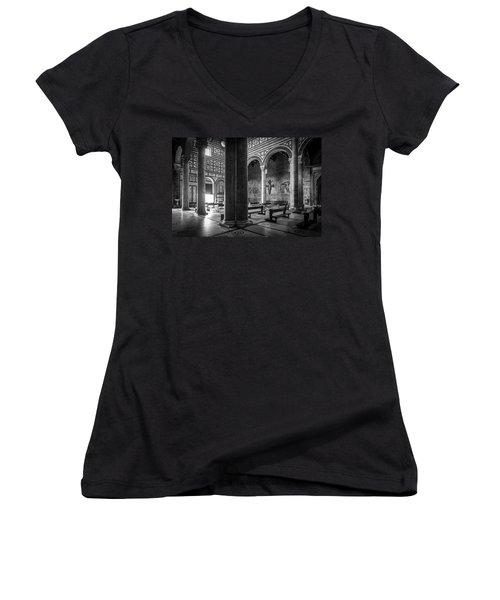 Women's V-Neck T-Shirt (Junior Cut) featuring the photograph San Miniato Al Monte by Sonny Marcyan