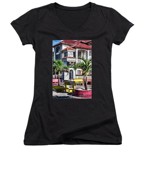 San Pedro Town Plaza Women's V-Neck T-Shirt (Junior Cut) by Lawrence Burry