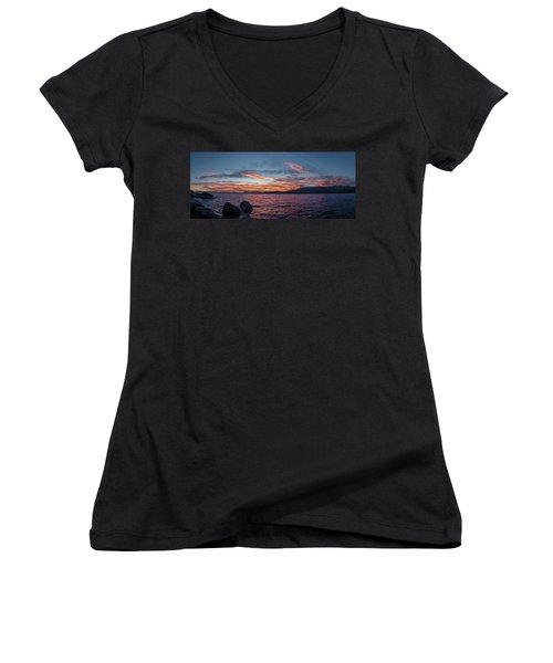 Sand Harbor Sunset Pano2 Women's V-Neck