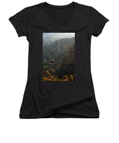 Sandia Peak Cable Car Women's V-Neck T-Shirt (Junior Cut) by Joe Kozlowski