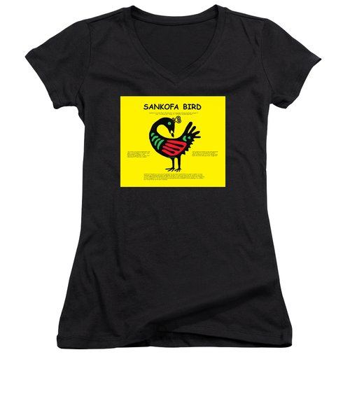 Sankofa Bird Of Knowledge Women's V-Neck