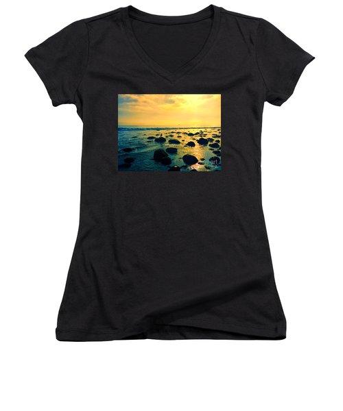 Santa Barbara California Ocean Sunset Women's V-Neck (Athletic Fit)