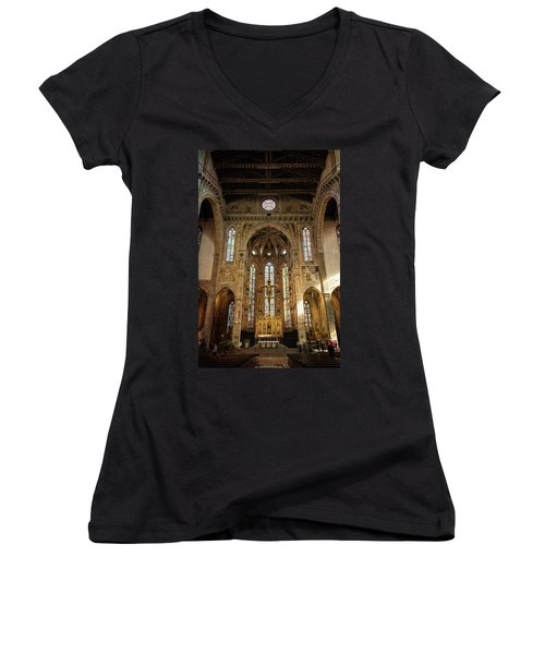 Women's V-Neck T-Shirt (Junior Cut) featuring the photograph Santa Croce Florence Italy by Joan Carroll