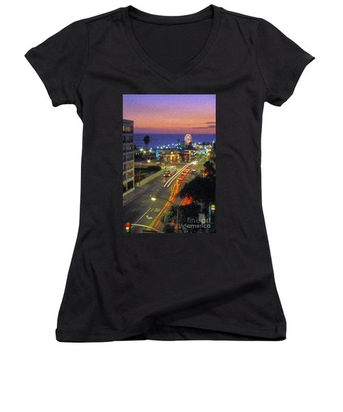 Women's V-Neck T-Shirt (Junior Cut) featuring the photograph Santa Monica Ca Pacific Park Pier  Sunset by David Zanzinger