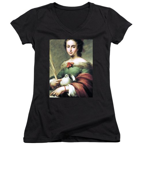 Women's V-Neck T-Shirt (Junior Cut) featuring the painting Santa Rufina by Pg Reproductions