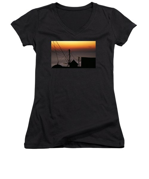 Santorini Women's V-Neck T-Shirt (Junior Cut) by David Gilbert