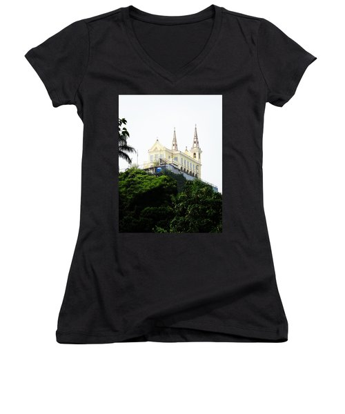 Santuario Da Penha Women's V-Neck T-Shirt (Junior Cut) by Zinvolle Art
