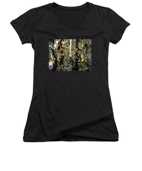 Women's V-Neck featuring the photograph Sap Drip by Robert Knight