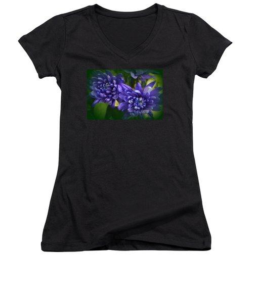 Sapphire Blue Chrysanthemums Women's V-Neck (Athletic Fit)