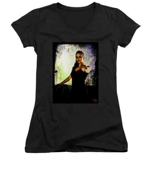 Women's V-Neck T-Shirt (Junior Cut) featuring the digital art Sarah 1 by Mark Baranowski
