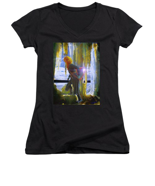 Women's V-Neck T-Shirt (Junior Cut) featuring the photograph Sarkis Passes Through The Ice Curtain by Anastasia Savage Ealy
