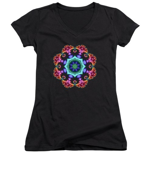 Satin Rainbow Fractal Flower I Women's V-Neck