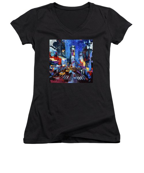 Saturday Night In Times Square Women's V-Neck (Athletic Fit)