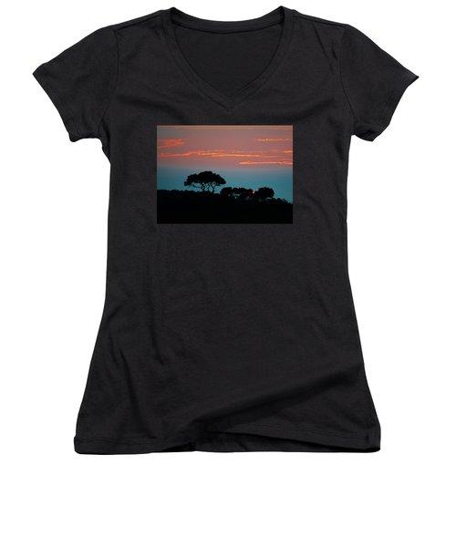Savannah Sunset Women's V-Neck T-Shirt (Junior Cut) by William Bartholomew