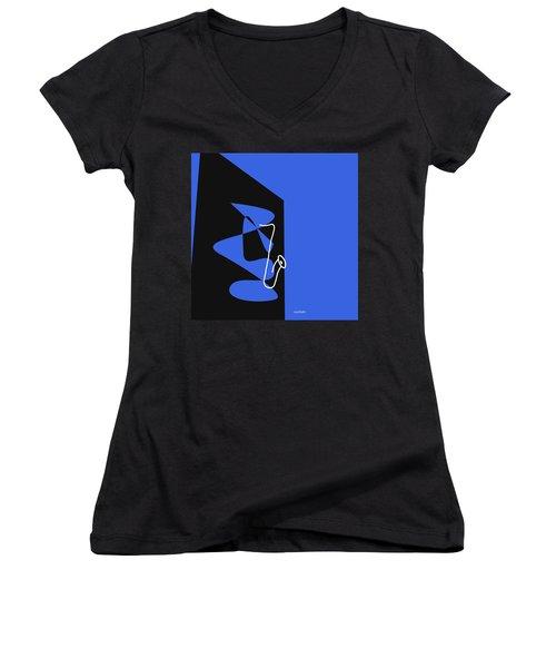 Women's V-Neck T-Shirt (Junior Cut) featuring the digital art Saxophone In Blue by Jazz DaBri