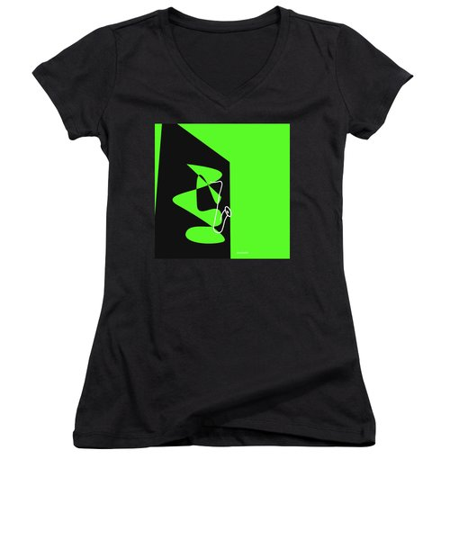 Women's V-Neck T-Shirt (Junior Cut) featuring the digital art Saxophone In Green by Jazz DaBri